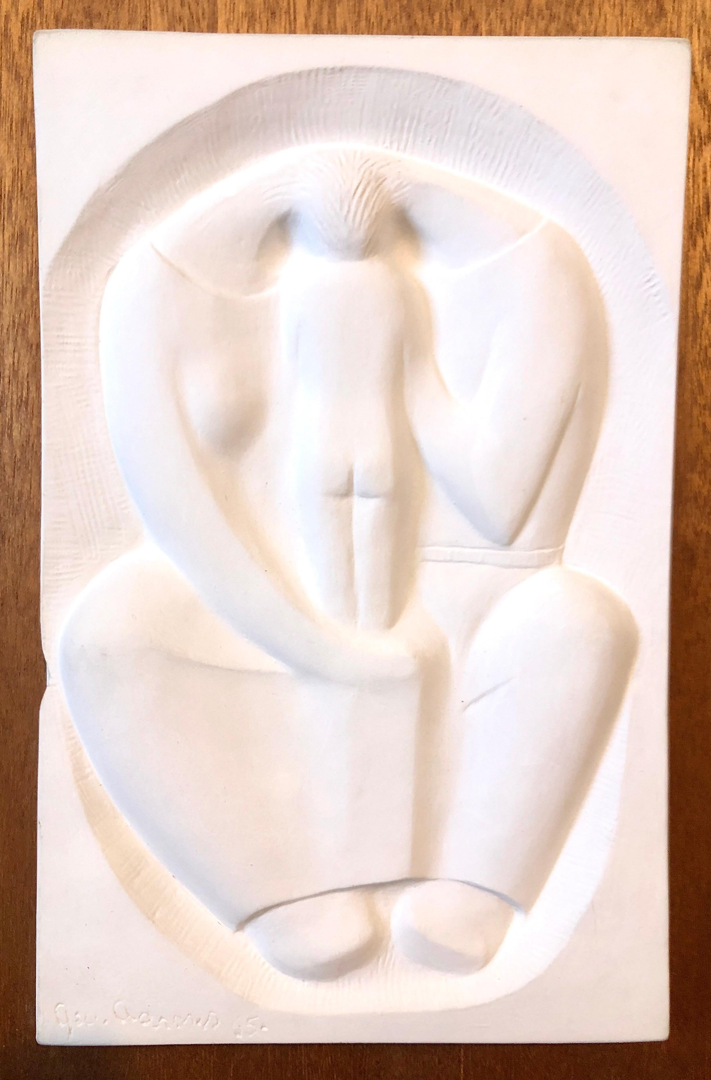 Plaster Sculpture Relief Art Deco Plaque WPA Artist Family w Baby Mother, Father