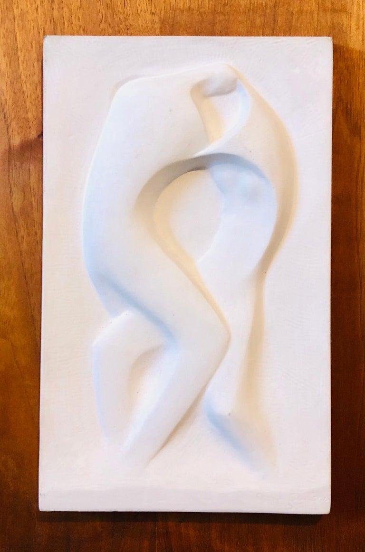 George Aarons Figurative Sculpture - Plaster Sculpture Relief Art Deco Plaque WPA Artist Lovers Embrace, Dancers