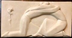 Plaster Sculpture Relief Art Deco Plaque WPA Artist Lovers Embrace, Rose