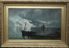 Unloading the Catch - Scottish Edinburgh Victorian art Seascape oil painting