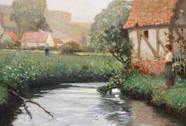 Hand-Painted George Ames Aldrich Impressionist Oil Painting Summer Stream, 1908 For Sale