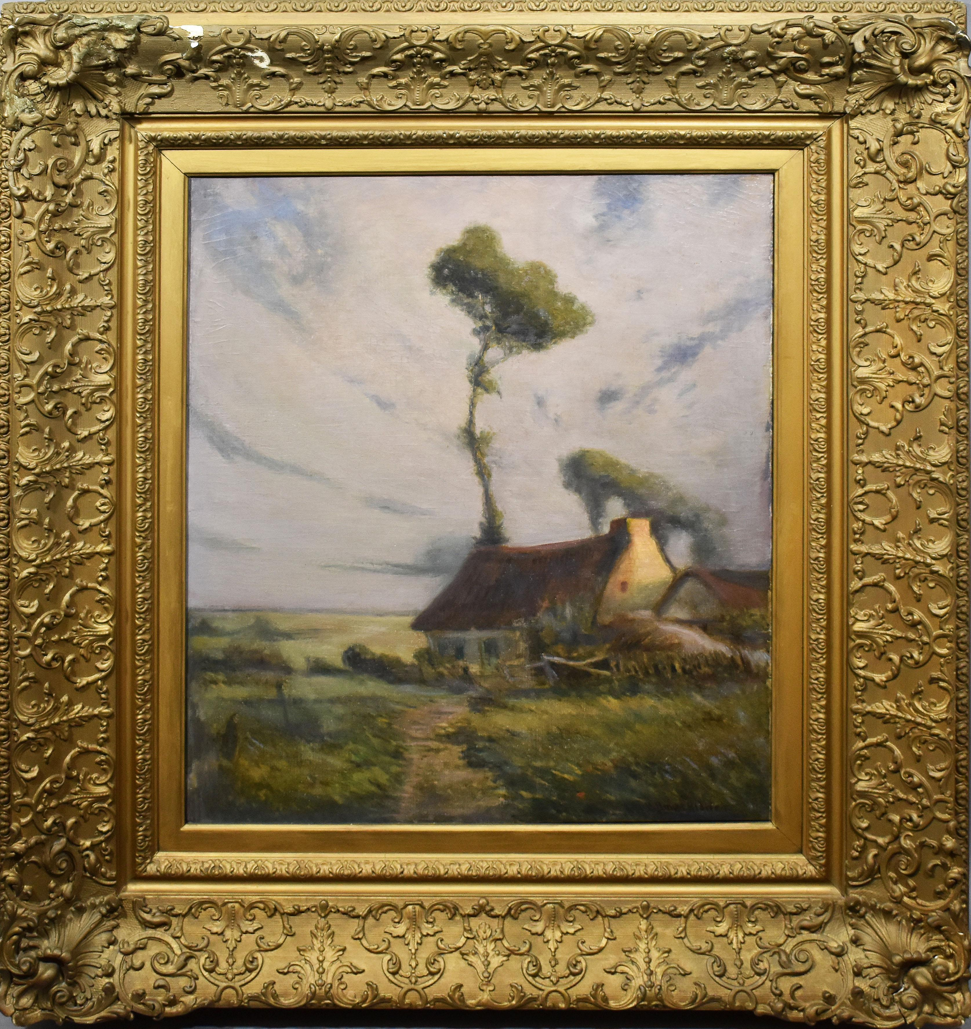 Antique American Impressionist Panoramic Cloud Landscape Signed Oil Painting