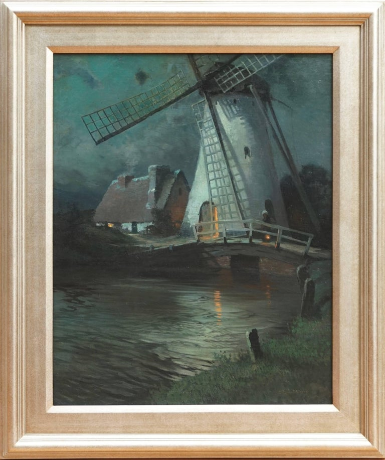 Windmill and a figure in moonligh, Normandy, France   Signed and dated lower right: G. Ames Aldrich / 1908   Measure: Canvas: 24