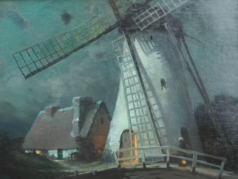 Beaux Arts George Ames Aldrich Windmill and Figures in Moonlight, 1905 For Sale