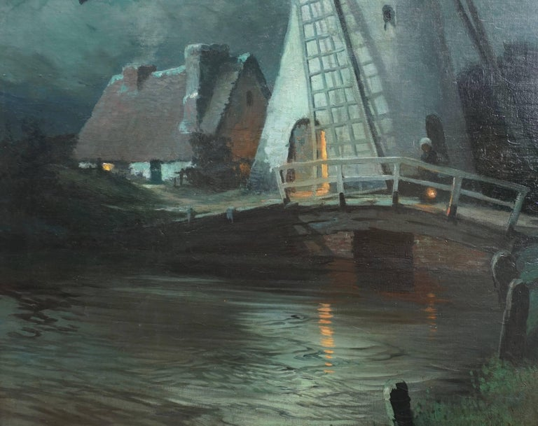 French George Ames Aldrich Windmill and Figures in Moonlight, 1905 For Sale