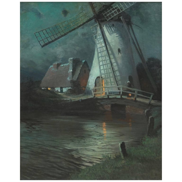 George Ames Aldrich Windmill and Figures in Moonlight, 1905 For Sale