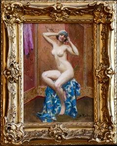 Dancer Undressing-20th Century Oil, Nude Female Figure in Boudoir by Rochegross