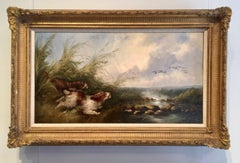 Antique Victorian 19thC English Spaniel dogs chasing ducks by a river landscape