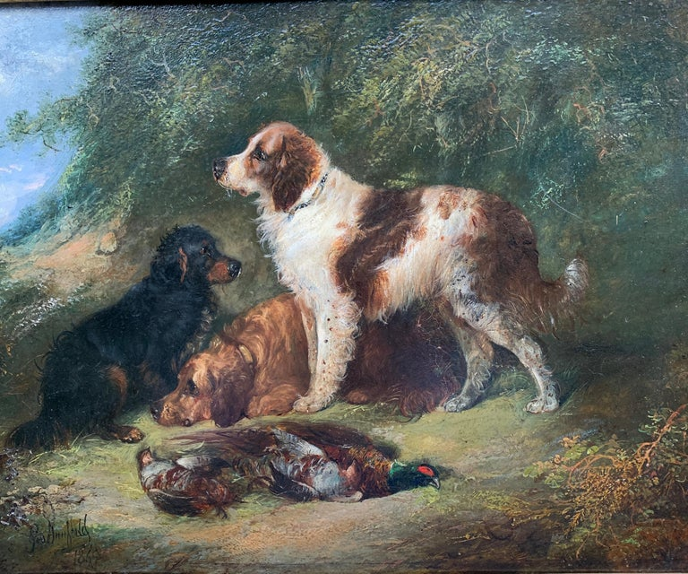 Antique Victorian English 19th C portrait of English Spaniel dogs in a landscape - Painting by George Armfield