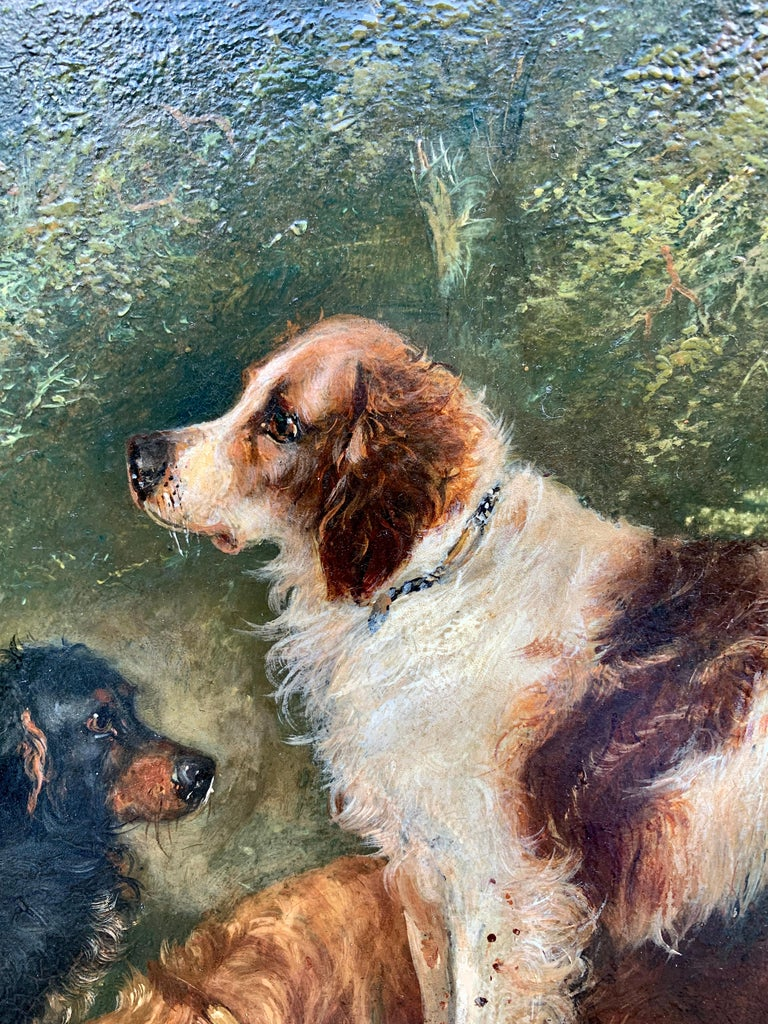 Antique Victorian English 19th C portrait of English Spaniel dogs in a landscape - Brown Animal Painting by George Armfield
