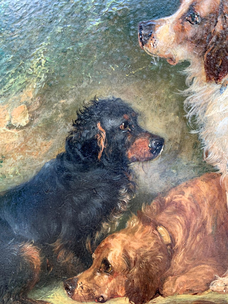 Antique Victorian English 19thC portrait of English Spaniel dogs in a landscape.   George Armfield was a mid-Victorian painter of mostly dog scenes but also painted other animal subjects such as interiors with huntsmen and simple well-painted