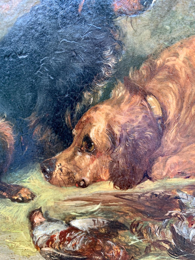 Antique Victorian English 19th C portrait of English Spaniel dogs in a landscape For Sale 1