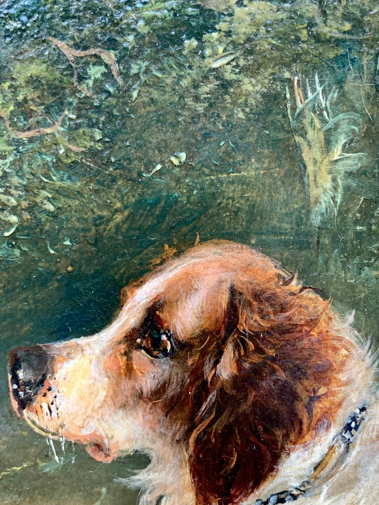 Antique Victorian English 19th C portrait of English Spaniel dogs in a landscape For Sale 5