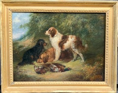 Antique Victorian English 19th C portrait of English Spaniel dogs in a landscape