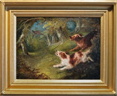 19th Century sporting landscape oil painting of spaniels flushing out