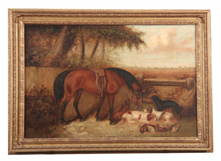 Victorian Signed Oil Sporting Companions in Country Landscape Horse & Dogs - Painting by George Armfield