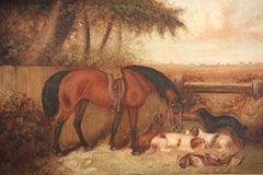 Victorian Signed Oil Sporting Companions in Country Landscape Horse & Dogs