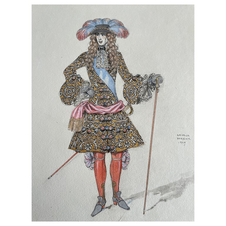 """George Barbier Ink and Watercolor, """"Louis XIV"""" 1929 Royal Baroque Costume For Sale"""