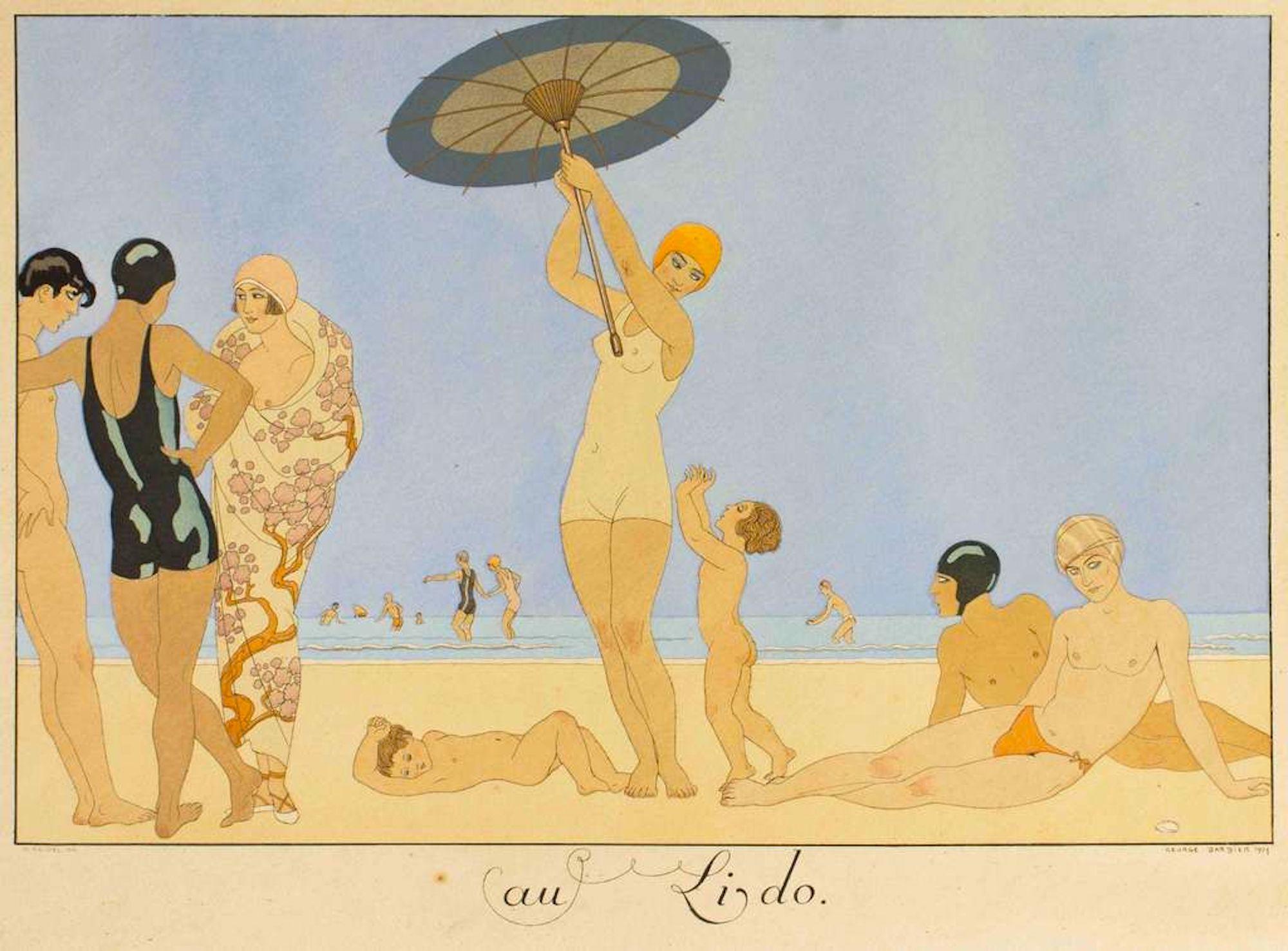 Au Lido - Original Pochoir by G. Barbier - 1920
