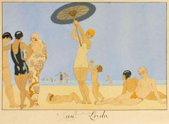 Au Lido - Original Pochoir by G. Barbier - 1920