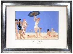 George Barbier, Au Lido, fashion lithograph, 1924