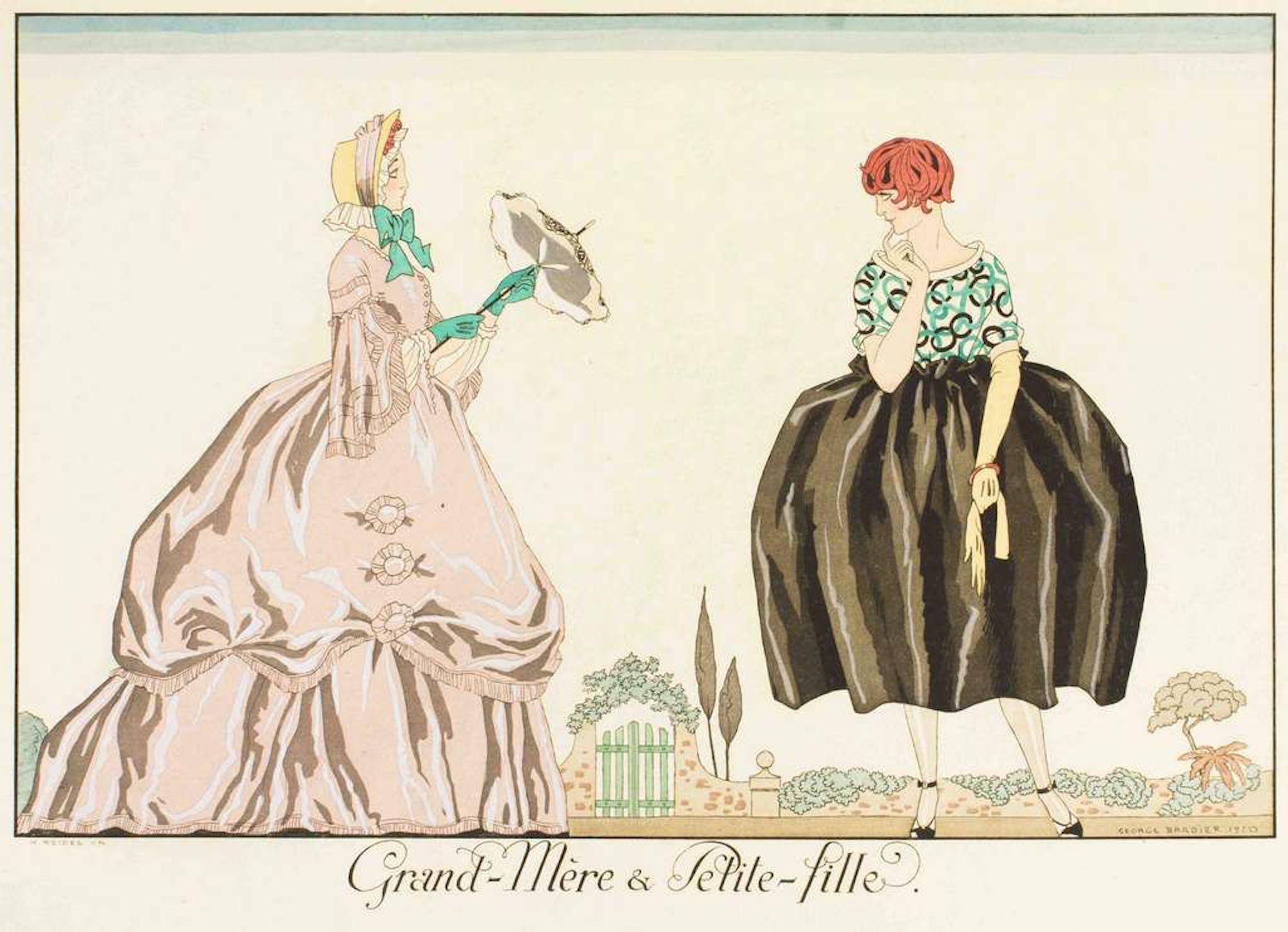 Grand-mere et Petite-fille - Original Pochoir by G. Barbier - 1920