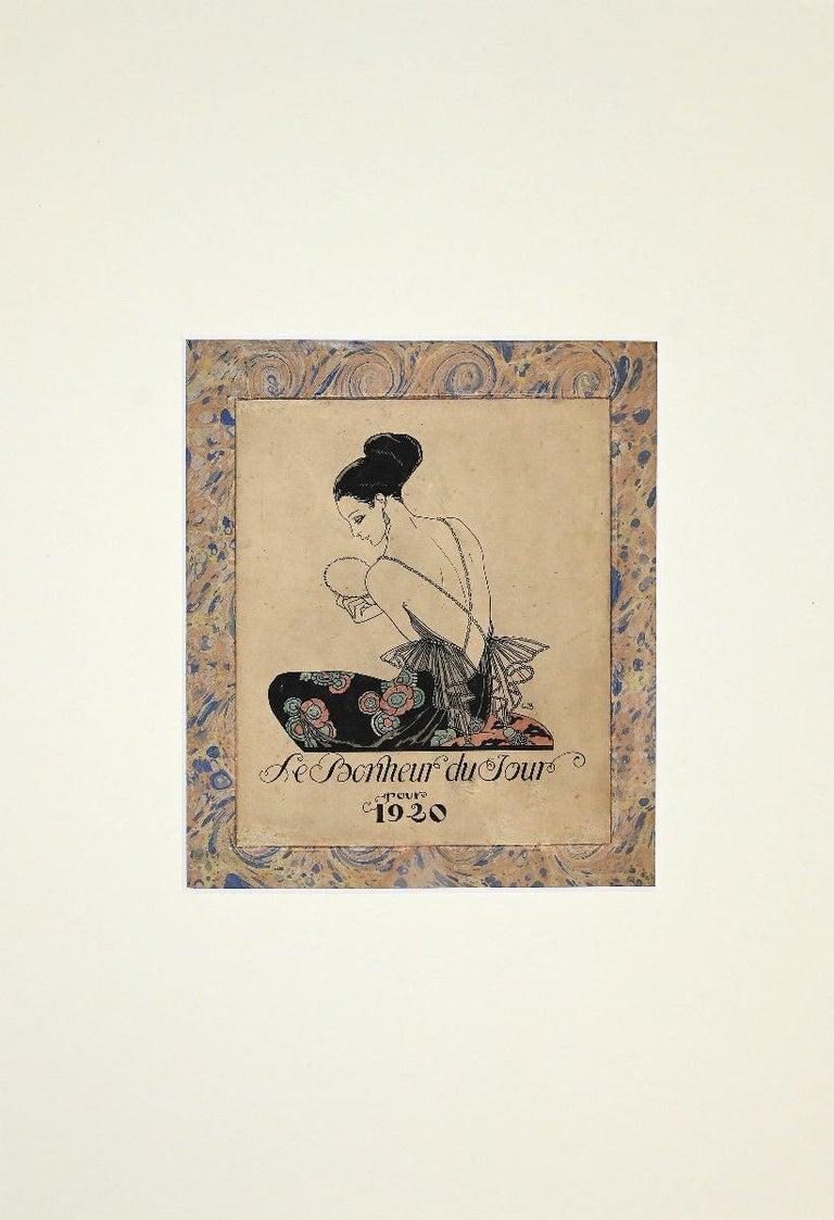 George Barbier Figurative Print - Le Bonheur du Jour - Original Pochoir by George Barbie - 1929