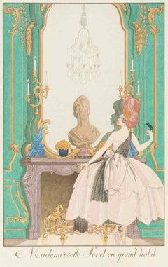 Mademoiselle Sorel en grand habit - Original Pochoir by Georges Barbier - 1920