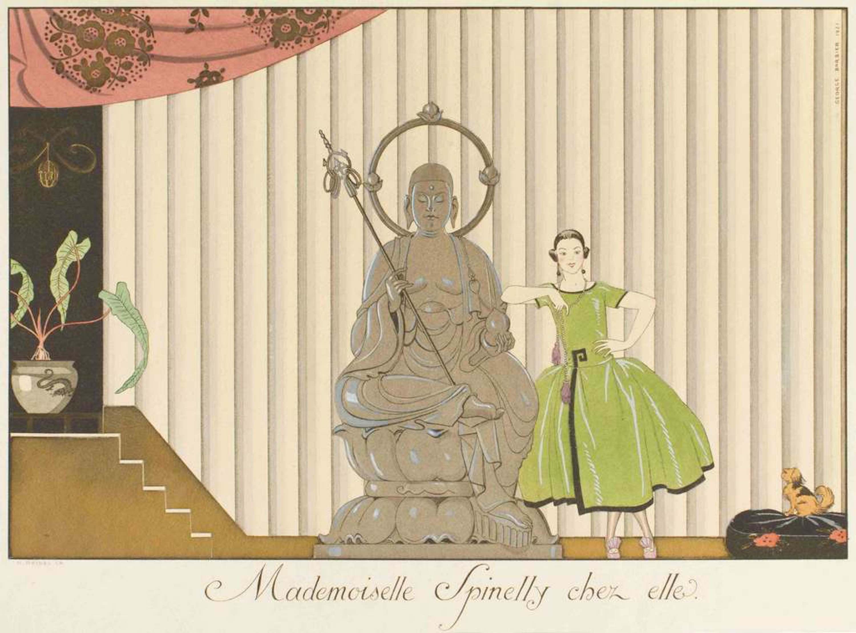 Mademoiselle Spinelly chez elle - Original Pochoir by G. Barbier - 1920