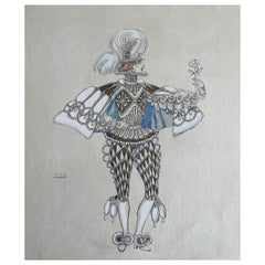 George Barbier Watercolor Illustration 1929 Royal Baroque Costume