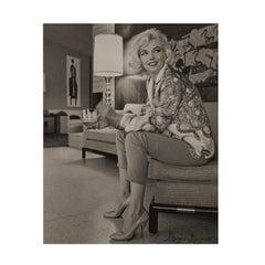 Marilyn Monroe by George Barris, Sitting Pretty. Black and White Portrait.