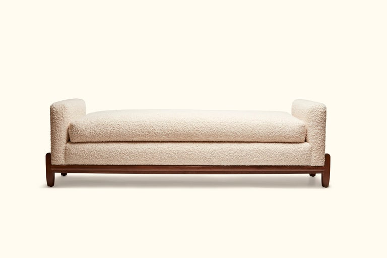 The George bench is part of the collaborative collection with interior designer Brian Paquette. The low profile silhouette sits above a sculpted solid wood base. This piece is available in exclusive BP for LF finishes as well as the standard