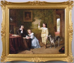 19th Century genre historical oil painting of Thomas Wentworth & his family
