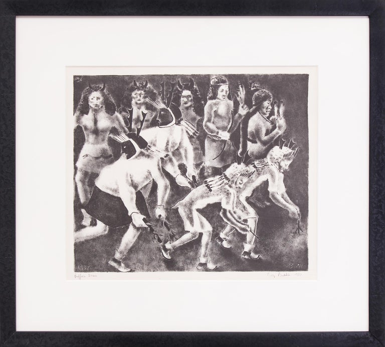 "Original vintage signed framed lithograph print by George Biddle (1885-1973), ""Buffalo Dance"" depicts dancers at a Native American Pueblo in New Mexico in the 1930s in a Modernist, WPA Era style.  Black and White, pencil signed and dated by the"