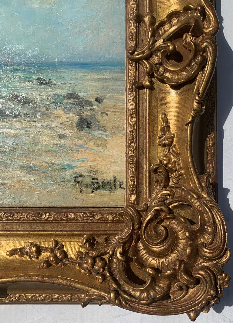 19th century  English impressionist, seascape beach off of the French Coast,  For Sale 2
