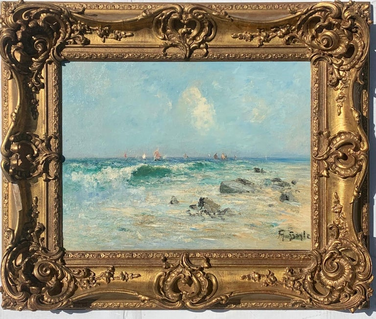 George Boyle Landscape Painting - 19th century  English impressionist, seascape beach off of the French Coast,
