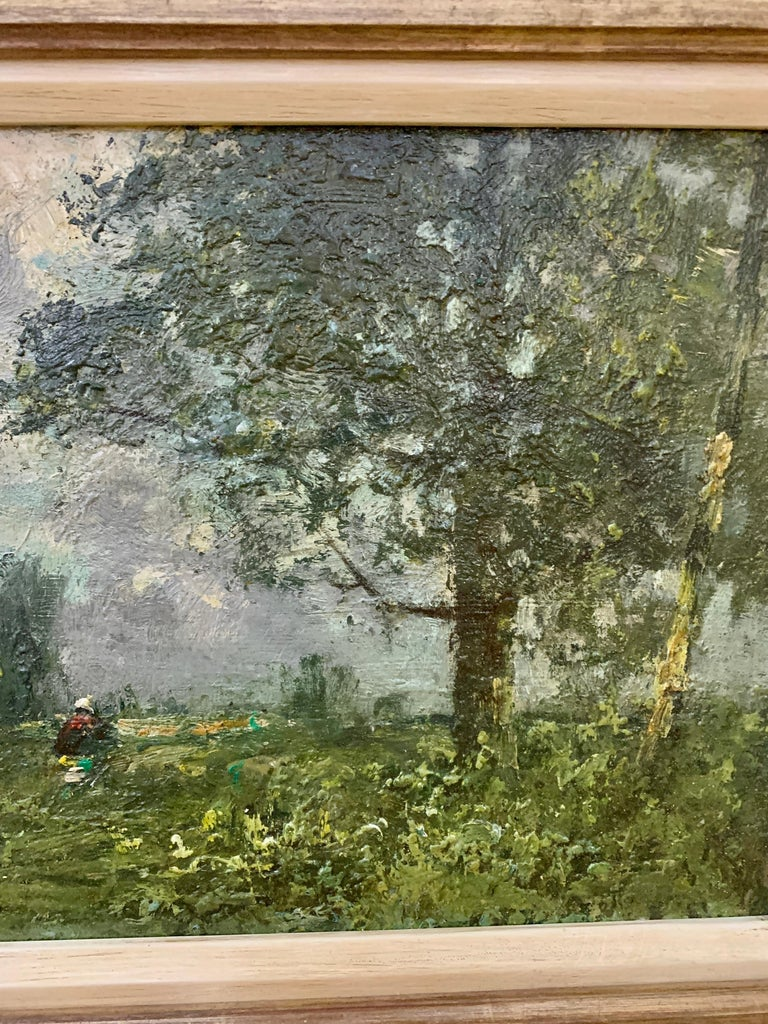 19th century English oil impressionist scene of a French landscape near Paris  - Painting by George Boyle