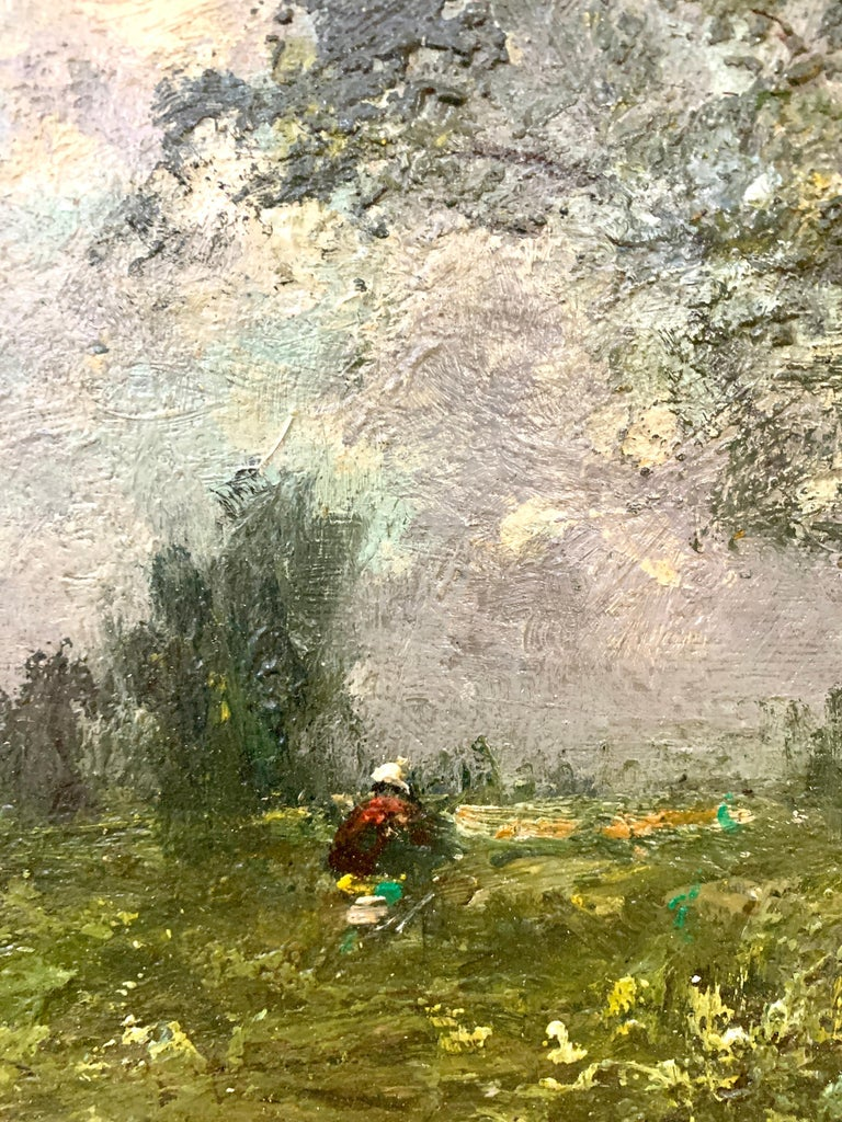 19th century English oil impressionist scene of a French landscape near Paris  - Brown Landscape Painting by George Boyle