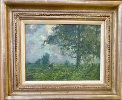 19th century English oil impressionist scene of a French landscape near Paris