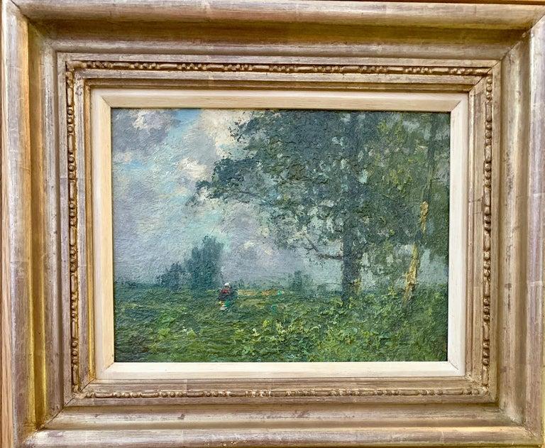 George Boyle Landscape Painting - 19th century English oil impressionist scene of a French landscape near Paris