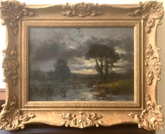 19th century English oil impressionist scene of a French landscape near Paris