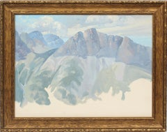 American Impressionist Panoramic Mountain Sketch Landscape & Sky Study Painting
