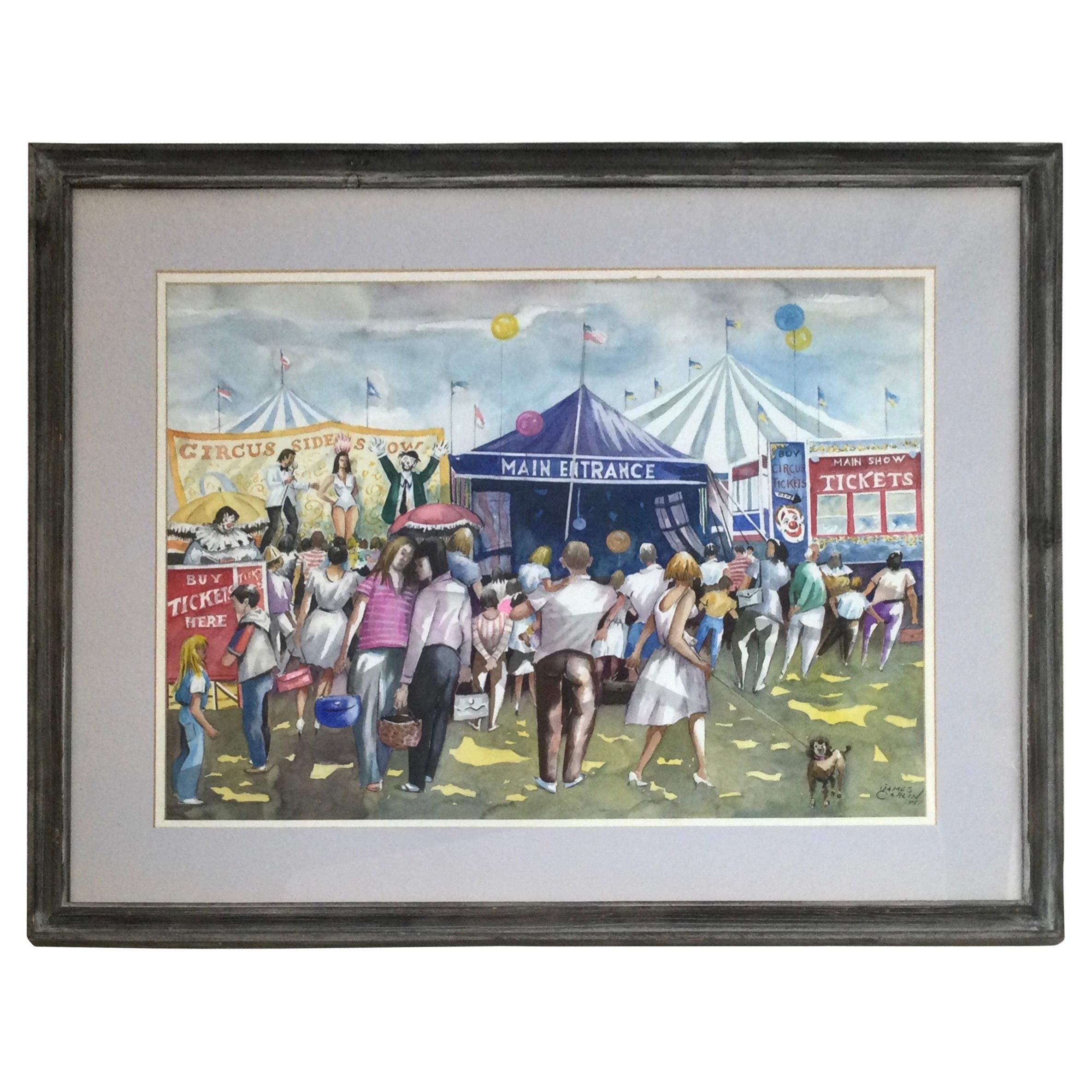 """George Carlin Watercolor """"At The Circus"""" Signed"""