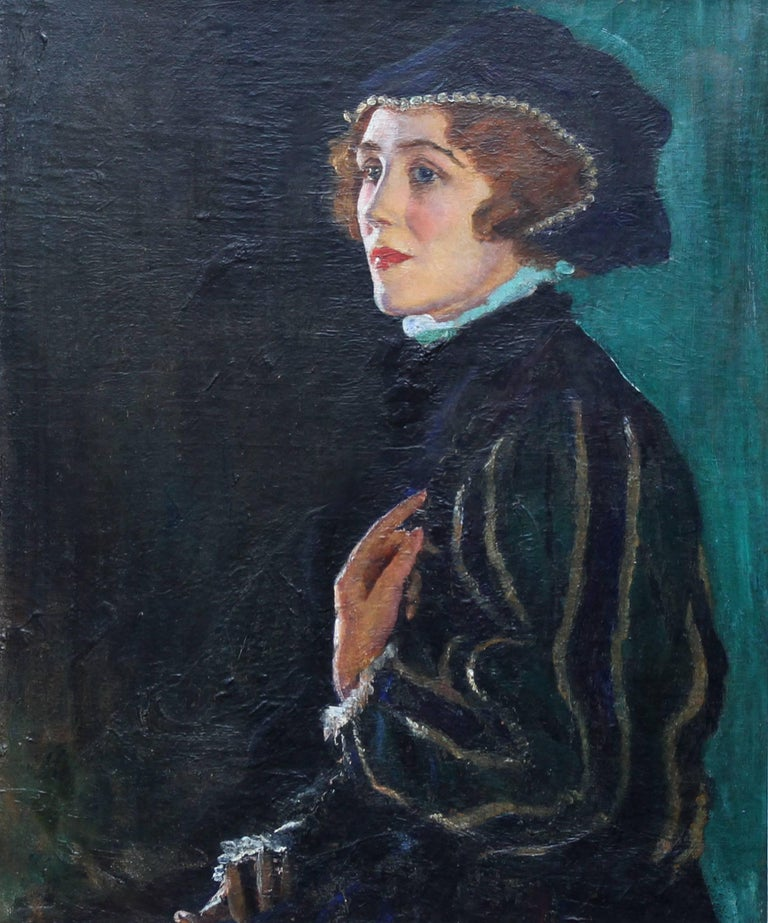 Cecily Byrne as Mary Stewart - British art 30's actress portrait oil painting - Painting by George Carr Drinkwater
