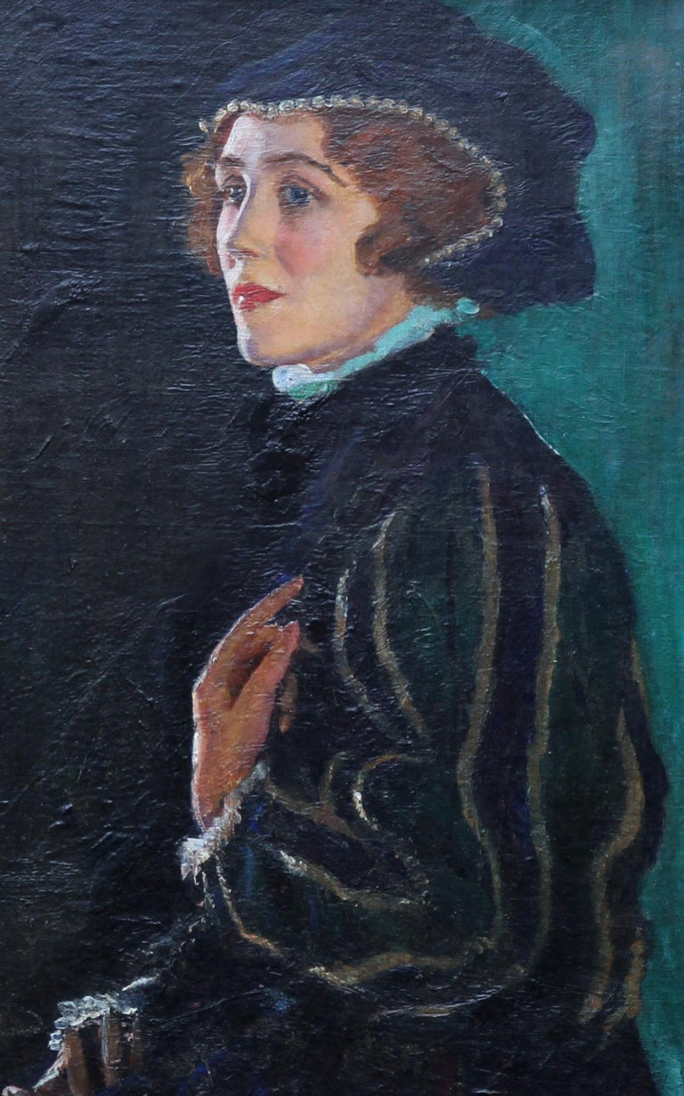 Cecily Byrne as Mary Stewart - British art 30's actress portrait oil painting - Realist Painting by George Carr Drinkwater