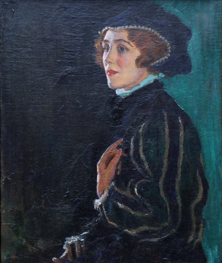 Cecily Byrne as Mary Stewart - British art 30's actress portrait oil painting For Sale 4