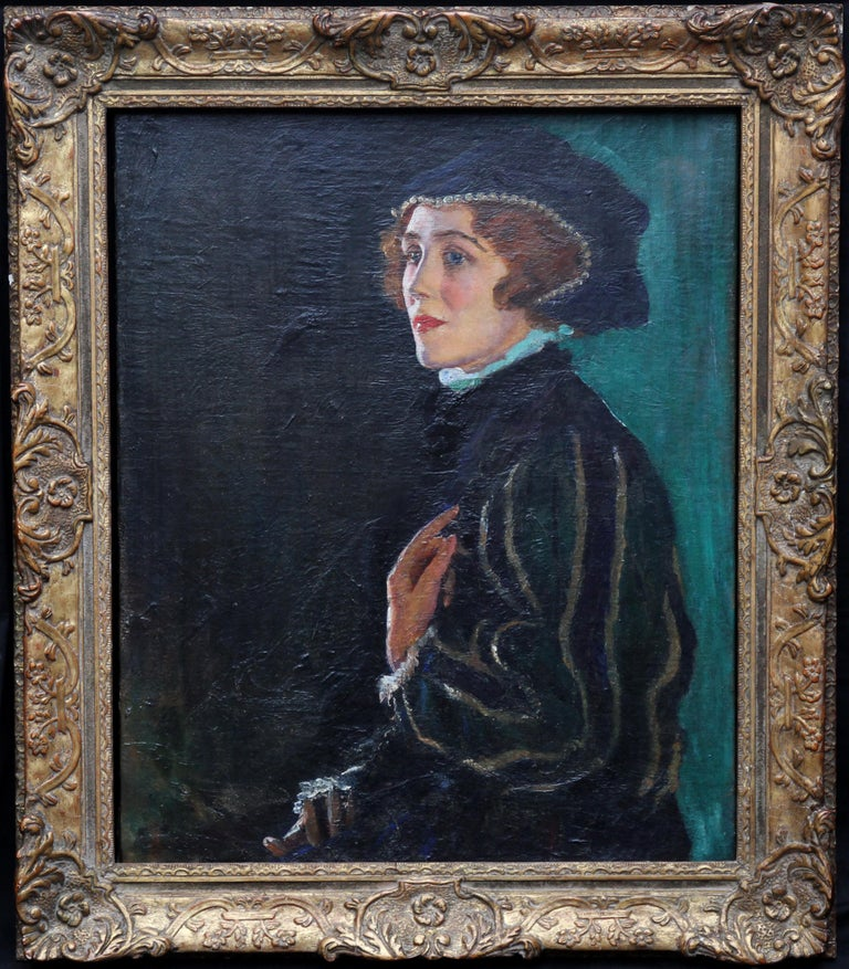 Cecily Byrne as Mary Stewart - British art 30's actress portrait oil painting For Sale 5