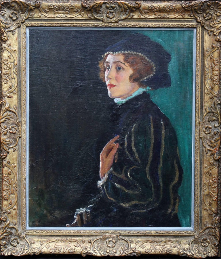 George Carr Drinkwater Portrait Painting - Cecily Byrne as Mary Stewart - British art 30's actress portrait oil painting