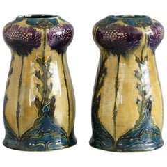 George Cartlidge Pair Hancock Morris Ware Art Deco Pottery Vases with Thistles
