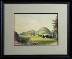 Buffalo Hunt, Approaching a Ravine PL. No 11 Catlin 1844 hand colored lithograph